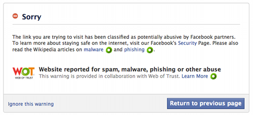 Facebook warning screen